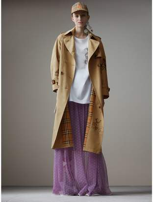 Burberry Sketch Print Tropical Gabardine Trench Coat