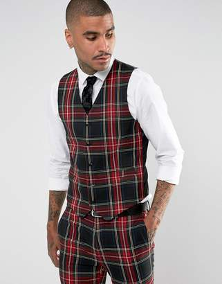 Devils Advocate Super Skinny Plaid Vest
