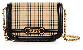 ... Burberry The 1983 Check Link Medium Fabric   Smooth Leather Shoulder Bag 3a25c2ebcf662