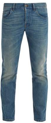 Gucci - Tiger Embroidered Mid Rise Tapered Leg Jeans - Mens - Light Blue