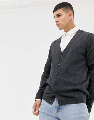 Asos DESIGN Cotton Cardigan In Charcoal