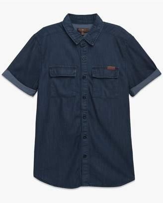 7 For All Mankind Kids Boys S-Xl Short Sleeve Shirt In Textured Indigo