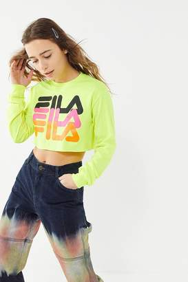 Fila UO Exclusive Neon Logo Cropped Long Sleeve Tee