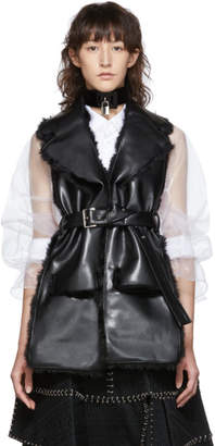 Noir Kei Ninomiya Black Faux-Leather and Faux-Fur Belted Vest