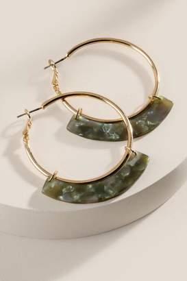 francesca's Desiree Marbled Resin Hoop Earrings - Olive