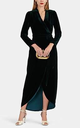 L'Agence Women's Reliah Velvet Wrap Dress - Dk. Green