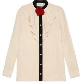 Gucci Silk shirt with rose brooch