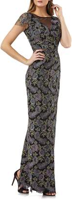 JS Collections Metallic Floral Embroidered Gown