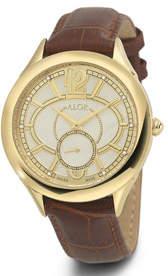 Alor 38mm Valenti Watch w/ Diamonds & Leather Strap, Yellow/Brown
