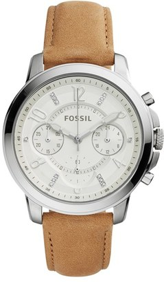 Women's Fossil 'Gwynn' Chronograph Leather Strap Watch, 38Mm $125 thestylecure.com