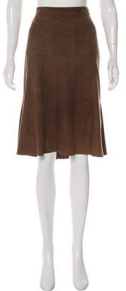 Rena Lange Suede Knee-Length Skirt