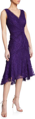 Neiman Marcus Lace Sheath Dress with High-and-Low-Hem, Purple