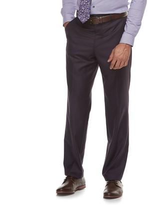 Savile Row Men's Modern-Fit Purple Flat-Front Suit Pants