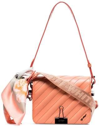 Off-White pink quilted bulldog clip leather shoulder bag