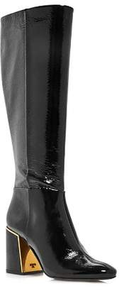 Tory Burch Women's Juliana Round Toe Textured Patent Leather Boots