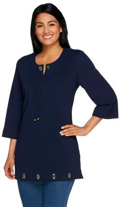 Denim & Co. Notch Neck and Rope Tie Tunic with Grommets
