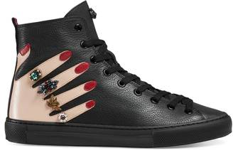 Embroidered leather high-top sneaker $850 thestylecure.com