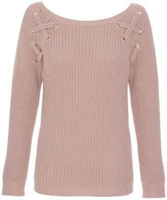 Quiz Nude Pink Knit Eyelet Jumper