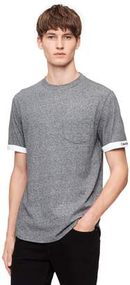 Calvin Klein relaxed fit heathered cuffed logo t-shirt