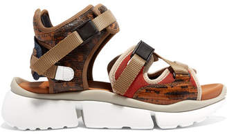 Chloé Sonnie Canvas, Mesh And Snake-effect Leather Sandals - Tan