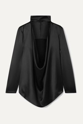 Michael Lo Sordo Cutout Draped Silk-satin Top - Black