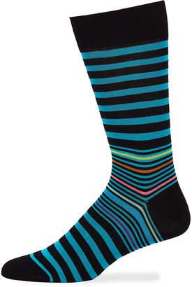 Bugatchi Men's Striped Socks, Black/Blue