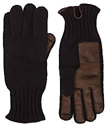 Barneys New York MEN'S LEATHER-ACCENTED CASHMERE GLOVES-NAVY
