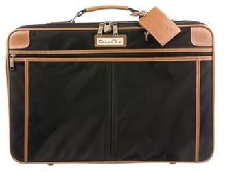 Oscar de la Renta Leather-Trimmed Carry-On Suitcase