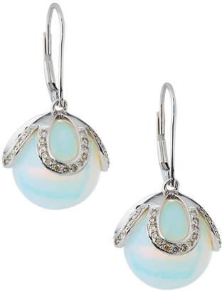 Sydney Evan 14k White Gold Moonstone & Diamond Drop Earrings