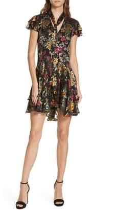 Alice + Olivia Moore Floral Tie Neck Silk Blend Mini Dress