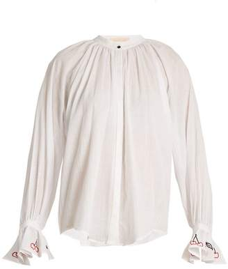 Bliss And Mischief - Cherry Embroidered Cotton Voile Shirt - Womens - Ivory