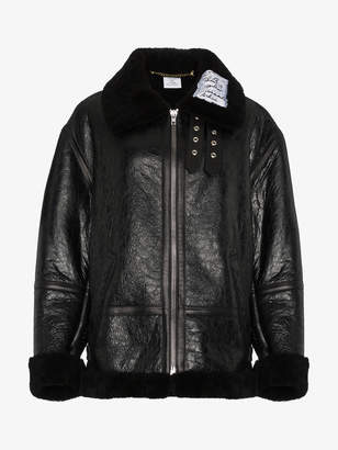 Vetements Leather and shearling aviator jacket