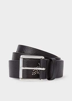 Men's Black Leather Belt With 'Dreamer' Motif Stud Detail
