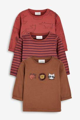 Next Boys Plum 3 Pack Woodland Character T-Shirts (0mths-2yrs) - Brown