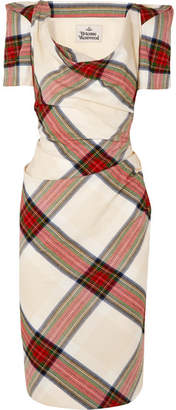 Vivienne Westwood Virginia Draped Tartan Cotton Dress - Red