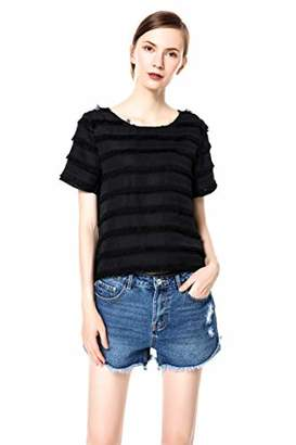 83c6be13e94 Womens Short Sleeve Crew Neck Tops Casual Blouse Shirt (M)