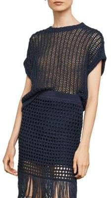 BCBGMAXAZRIA Short-Sleeve Open-Stitch Sweater
