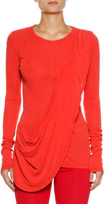 Unravel Long-Sleeve Draped Silk Tee