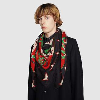 Gucci Modal shawl with symbols print