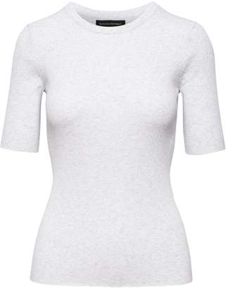 Banana Republic Fitted Stretch-Cotton Crew-Neck Sweater