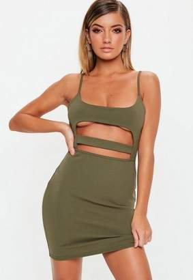 Missguided Khaki Strappy Cut Out Mini Dress, Khaki