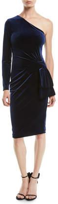 Black Halo Karmina Asymmetric Dress in Velvet