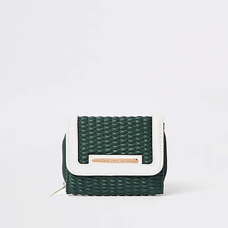 River Island Green quilted trifold purse