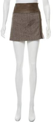 Alice + Olivia Herringbone Leather-Accented Skirt
