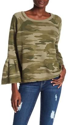 Current/Elliott Ruffle Sleeve Camo Print Pullover
