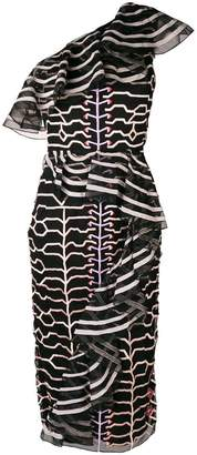 Temperley London embroidered ruffle trim dress