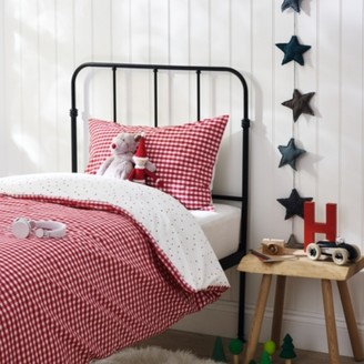 The White Company Reversible Gingham Bed Linen Set, Red, Cot Bed