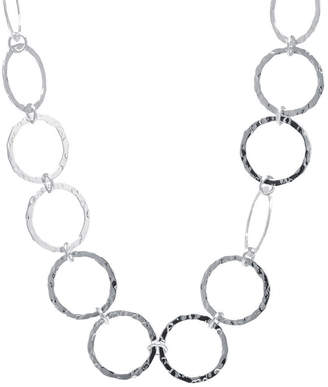 SILVER TREASURES Silver Treasures Hammered Open Circle Womens Pure Silver Over Brass Statement Necklace