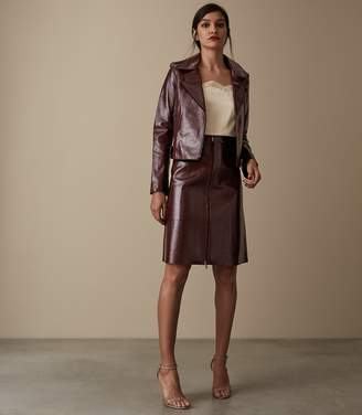 Reiss HANNA PATENT LEATHER SKIRT Oxblood