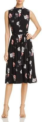 Leota Mindy Shirred Falling Floral Print Dress